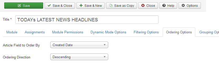 create news site module ordering