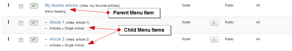 menu parent child